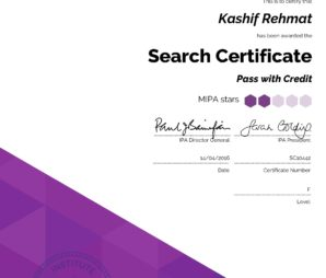 IPA Search Certificate - Institute of Practitioners in Advertising