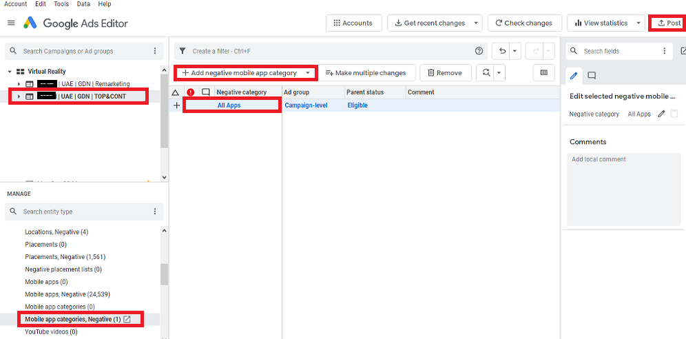 Exclude Mobile Apps From Google Ads Display Campaigns Through Ads Editor