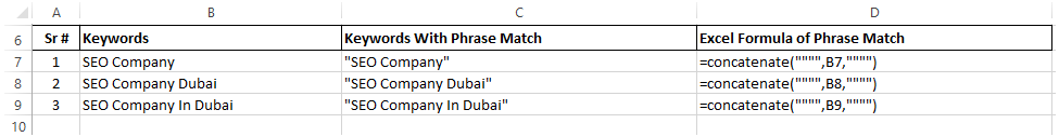 Phrase match keywords excel formula 3